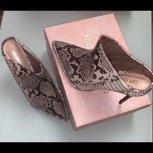 Snake mule studded diamond heels